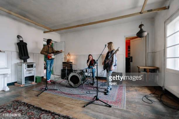 generation z music band on rehearsal - rock group stock photos and pictures