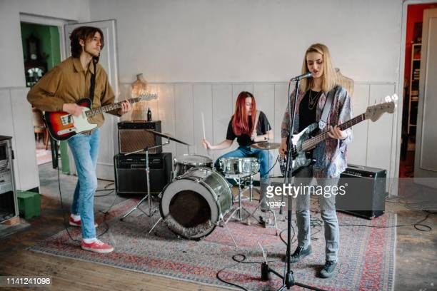generation z music band on rehearsal - rehearsal stock pictures, royalty-free photos & images