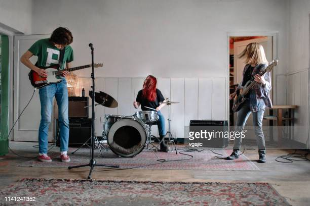 generation z music band on rehearsal - practicing stock pictures, royalty-free photos & images