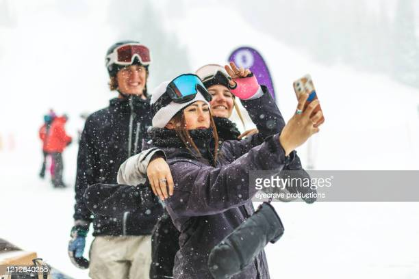 generation z youth skiing and snowboarding activities at ski resort town in the colorado rockies - winter sports event stock pictures, royalty-free photos & images