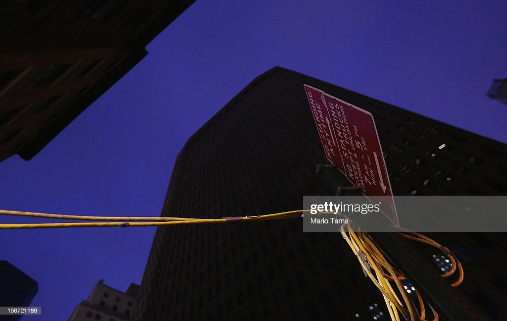 Generator cables run into a Financial District building that