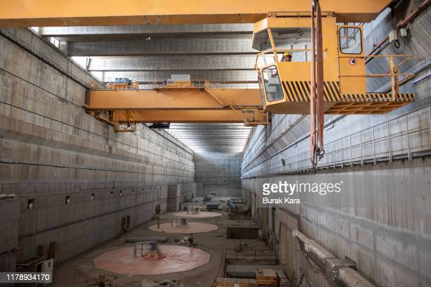 Generator rotors and shafts sits in the floor of Ilisu Hydroelectric Power Plant on October 02 2019 in Istanbul Turkey The ancient Silk Road trading...