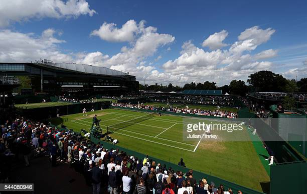 A generavl view of the outside courts on day five of the Wimbledon Lawn Tennis Championships at the All England Lawn Tennis and Croquet Club on July...