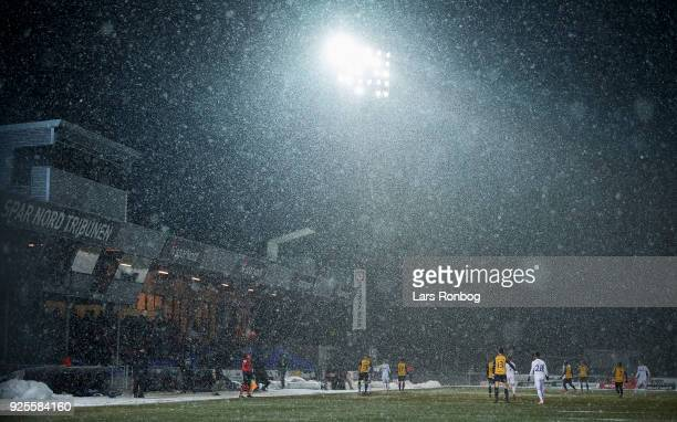 Genereal view of the action and the snow on the pitch during the Danish Alka Superliga match between Hobro IK and FC Copenhagen at DS Arena on...