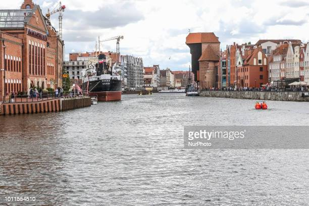 Genereal view of the Old city of Gdansk by the Motlawa river is seen in Gdansk Poland on 1 July 2018