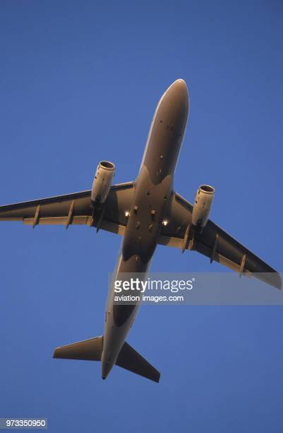 generic Airbus A320200 climbing enroute at dusk with flaps deployed
