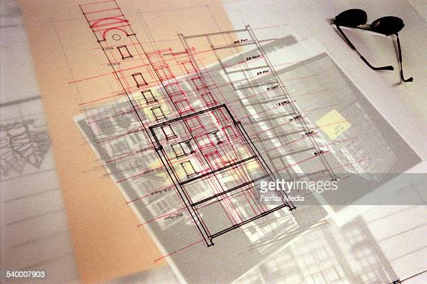 Generic architect at work drawing a multi story building 24 November 1998 AFR Picture by VIRGINIA STAR