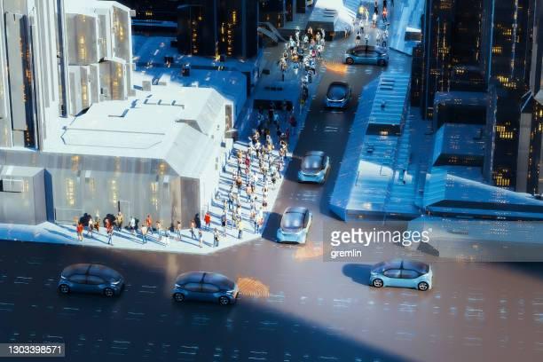 generic autonomous concept cars in the street - autonomous technology stock pictures, royalty-free photos & images