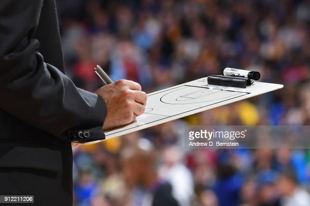 A generic basketball photo of a coach drawing up plays during the Boston Celtics game against the Golden State Warriors on January 27 2018 at ORACLE...