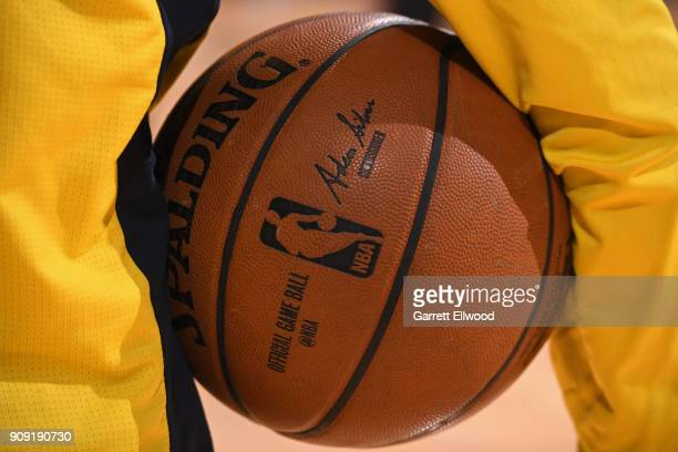 A generic basketball photo of a player holding the Official @NBA Spalding basketball before the Portland Trail Blazers game against the Denver...