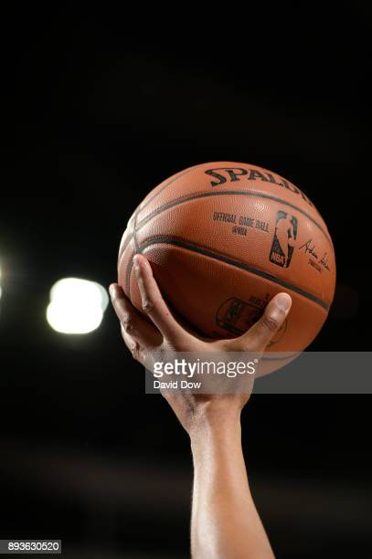 A generic basketball photo of a referee holding the Official @NBA Spalding basketball during the game between the Los Angeles Lakers and against the...