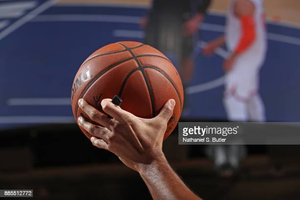 A generic basketball photo of an NBA referee holding up the Official NBA Spalding basketball during the Orlando Magic game against the New York...