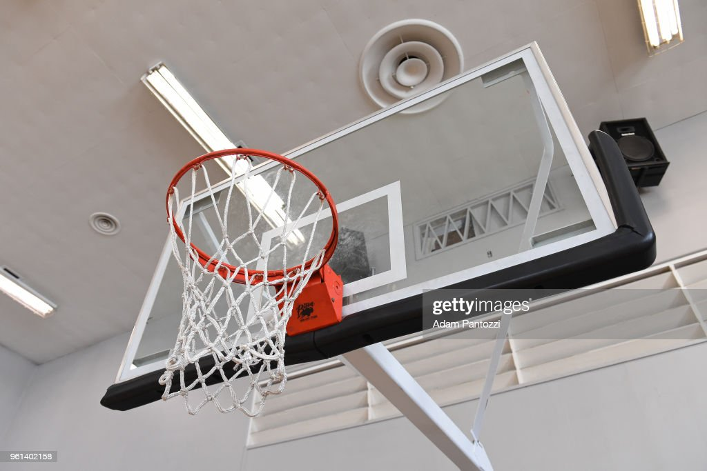 A generic basketball photo of the backboard at JEM Community Center during the NBA Playmakers Influencer Shoot - Skills & Drills in Los Angeles on May 09, 2017 in Beverly Hills, California.