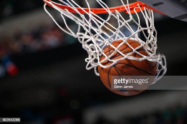 A generic basketball photo of the basketball going through the net during the New York Knicks game against the Dallas Mavericks on January 7 2018 at...
