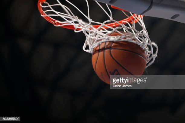 A generic basketball photo of the Official @NBA Spalding basketball going through the net during the San Antonio Spurs game against the Dallas...