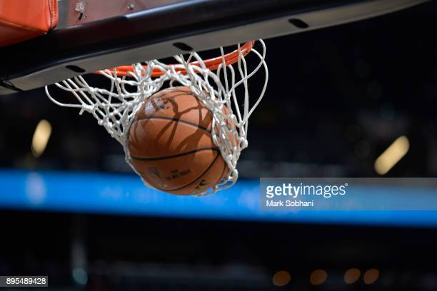 A generic basketball photo of the Official @NBA Spalding basketball going through the net before the LA Clippers game against the San Antonio Spurs...
