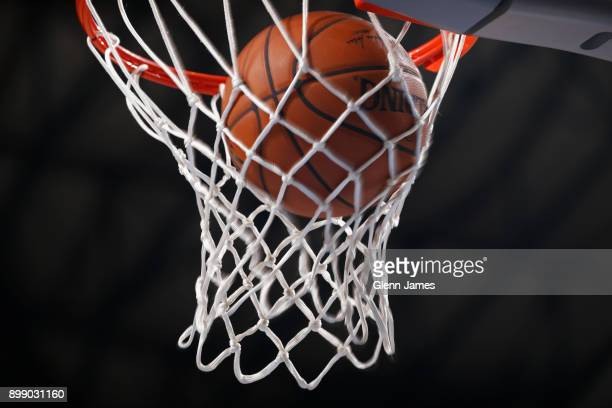 A generic basketball photo of the Official @NBA Spalding basketball going through the net during the Phoenix Suns game against the Dallas Mavericks...