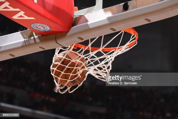 A generic basketball photo of the Official @NBA Spalding basketball going through the net during the Memphis Grizzlies game against the Los Angeles...
