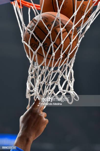 A generic basketball photo of the Official @NBA Spalding basketballs in the net before the New Orleans Pelicans game against the Orlando Magic on...