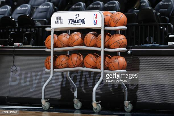 A generic basketball photo of the Official @NBA Spalding basketballs on the rack before the Denver Nuggets game against the Minnesota Timberwolves on...