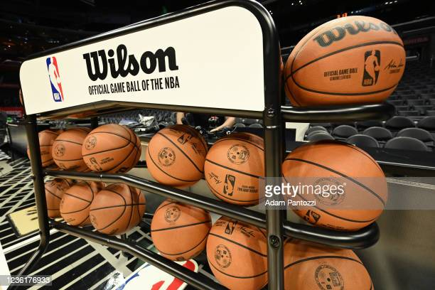 Generic basketball photo of the Official Wilson Basketballs on the court before the Cleveland Cavaliers game against the LA Clippers on October 27,...
