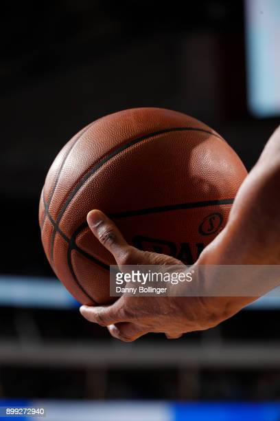 A generic basketball photo of the referee holding the Official @NBA Spalding basketball during the Detroit Pistons game against the Dallas Mavericks...