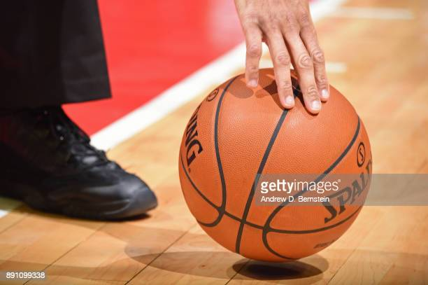A generic basketball photo of the referee putting down the Official @NBA Spalding basketball during the Toronto Raptors game against the LA Clippers...