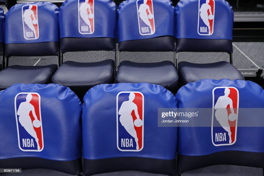 A Generic Basketball Photo The Nba Logo On Seats In The Arena