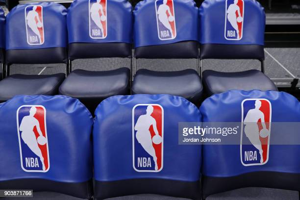 A generic basketball photo the NBA logo on seats in the arena before the Oklahoma City Thunder game against the Minnesota Timberwolves on January 10...