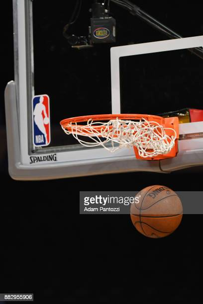A generic basketball shot of the Official NBA Spalding Basketball going in the net before the Golden State Warriors game against the Los Angeles...