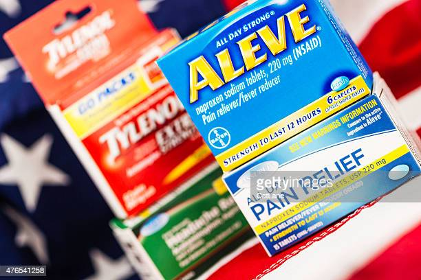 generic brand pain medication vs name brand aleve and tylenol. - acetaminophen stock photos and pictures