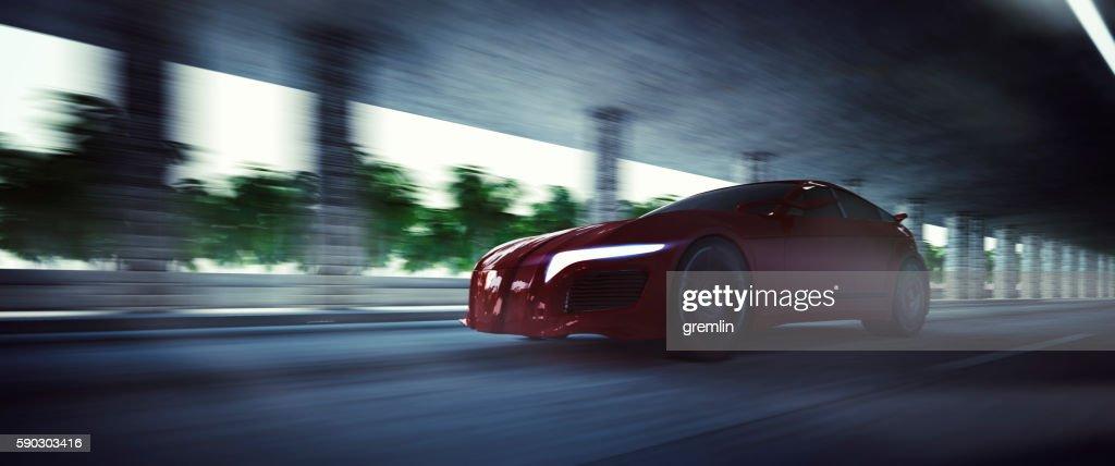 Generic brandless sport vehicle speeding : Stock Photo