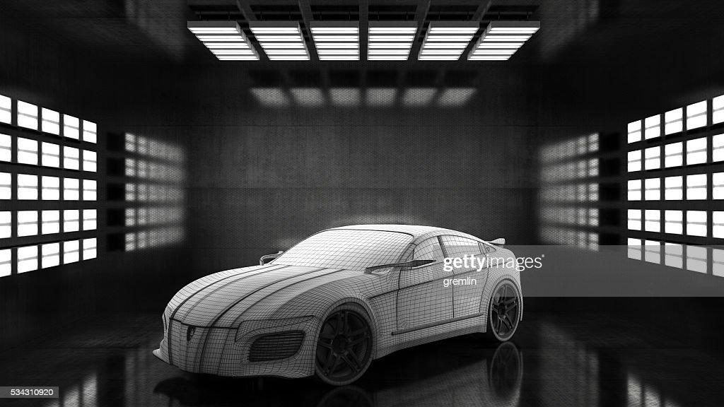 Generic conceptual sports car in studio : Stock Photo
