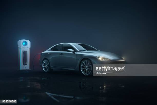 generic e-car - landscape - electric vehicle stock pictures, royalty-free photos & images