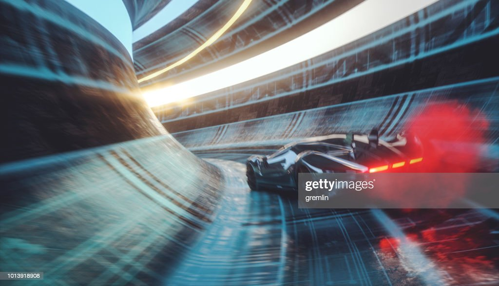 Generic futuristic sports car speeding in the underground tunnel : Stock Photo