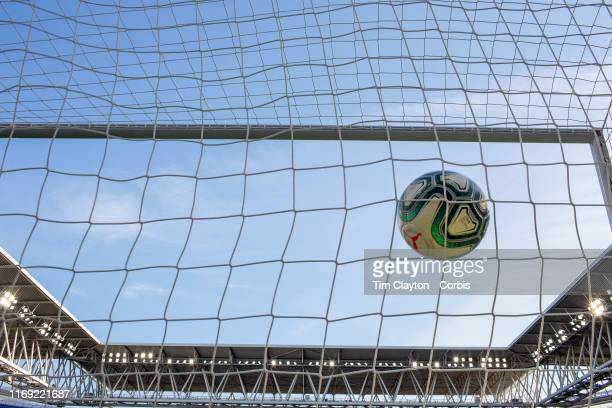 August 18: A generic image of a football goal mouth showing the netting, the goal mouth, the stadium and a La Liga official professional match ball...