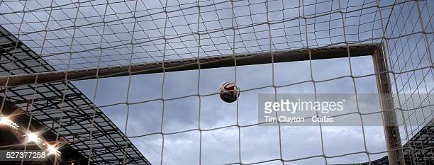 A generic image of a professional soccer goal mouth showing the netting and goal mouth white line Photo Tim Clayton