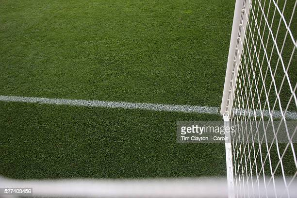 Generic image of a professional soccer goal mouth showing the netting and goal mouth white line. Photo Tim Clayton