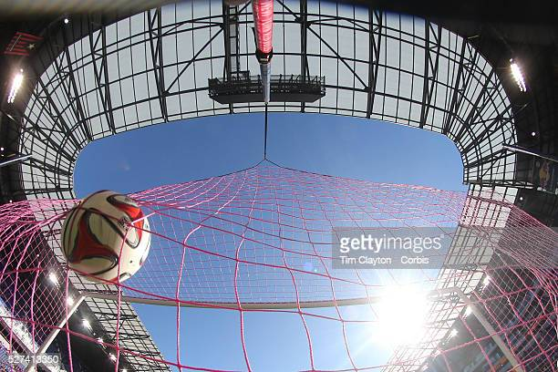 A generic image of a professional soccer goal mouth showing the netting and goal with the ball hitting the back of the net Photo Tim Clayton