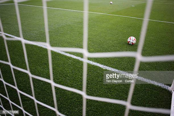 A generic image of a professional soccer goal mouth showing the netting and goal mouth white line and a professional match football Photo Tim Clayton