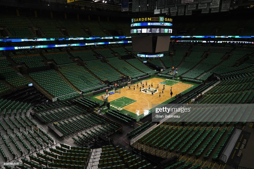 Generic image of the arena before the game between the Milwaukee Bucks and the Boston Celtics in Game One of Round One during the 2018 NBA Playoffs on April 15, 2018 at TD Garden in Boston, Massachusetts.