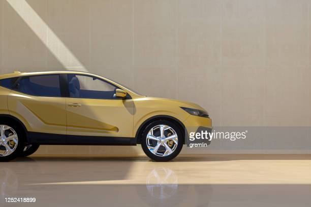 generic modern car against concrete wall - side view stock pictures, royalty-free photos & images