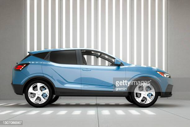 generic modern suv car in concrete garage - car stock pictures, royalty-free photos & images