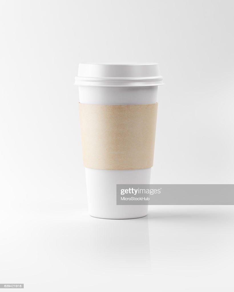 Generic Paper Insulated Coffee Cup with Lid and cardboard Sleeve : Stock Photo