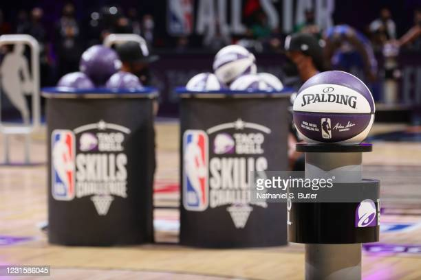 Generic photo of the Spalding basketball during the Taco Bell Skills Challenge as part of 2021 NBA All Star Weekend on March 7, 2021 at State Farm...