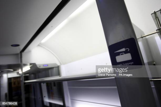 A generic photograph of the luggage rack on a first class coach on the Heathrow Express train which runs every 15 minutes between the Heathrow...