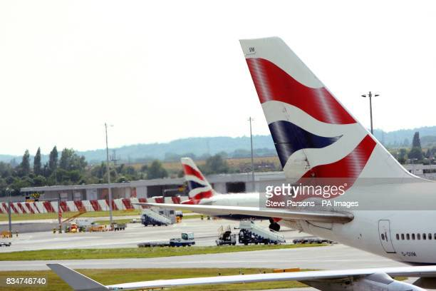 Generic picture of a British Airways 747 tail fin as it is being pushed back from a stand at Terminal 5 at Heathrow Airport