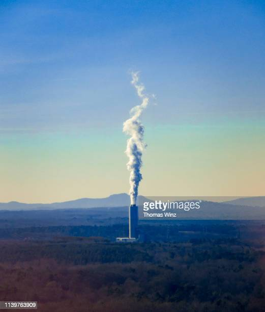 generic power plant with smoke stack - environmental damage stock pictures, royalty-free photos & images