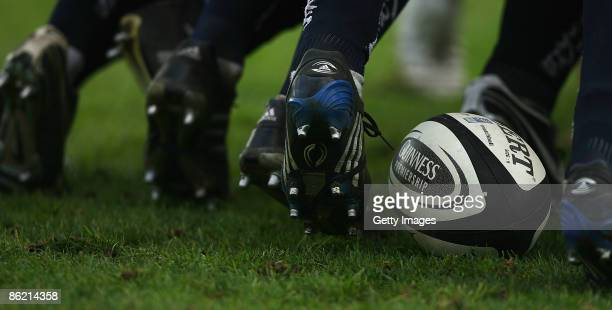 Generic rugby ball during the Guinness Premiership match between Sale Sharks and Northampton Saints at Edgeley Park on April 25, 2009 in Stockport,...