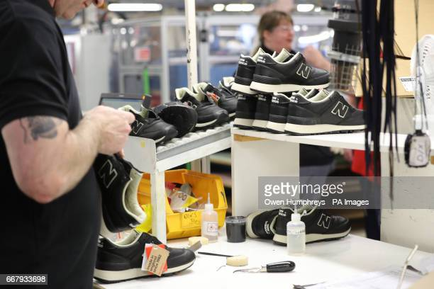 Generic stock photo taken of trainers being made at the New Balance factory in Maryport Cumbria